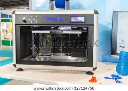 MILAN, ITALY - OCTOBER 16: 3d printer on display at Viscom, international trade fair and conference on visual communication and event services on OCTOBER 16, 2015 in Milan.