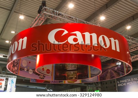 MILAN, ITALY - OCTOBER 16: Detail of Canon stand at Viscom, international trade fair and conference on visual communication and event services on OCTOBER 16, 2015 in Milan.