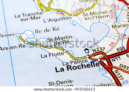 Milan, Italy - October 19, 2015: La Rochelle area on a map