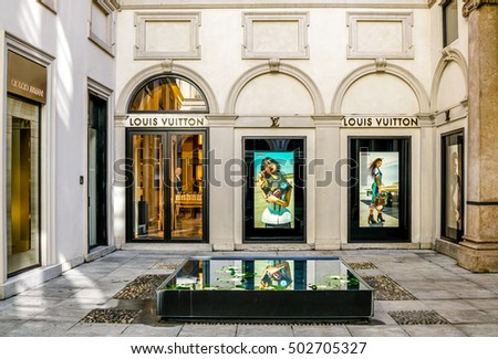 Milan, ITALY - OCTOBER 16, 2016 : Louis Vuitton store at via Monte Napoleone street in Milan, Italy. Louis Vuitton is a French fashion house, one of the world's leading international fashion houses.