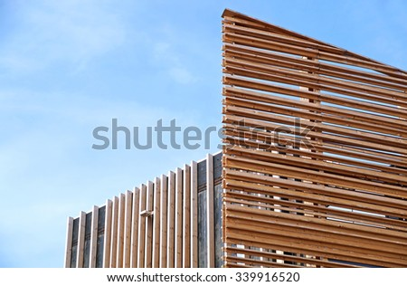 MILAN , ITALY . 20 October 2015 : modern construction with wooden details. The new facilities are built with green materials and environmentally friendly - stock photo