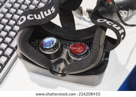 MILAN, ITALY - OCTOBER 24: Oculus headset at Games Week 2014, event dedicated to video games and electronic entertainment on OCTOBER 24, 2014 in Milan. - stock photo