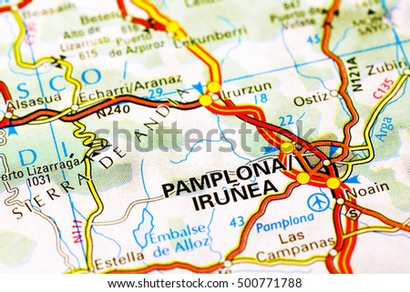 Milan, Italy - October 19, 2015: Pamplona area on a map