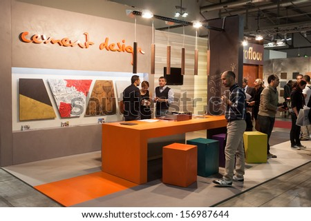 MILAN, ITALY - OCTOBER 3: People visit Made expo, international architecture and building trade show on OCTOBER 3, 2013 in Milan.