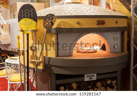 MILAN, ITALY - OCTOBER 18: Pizza oven at Host 2013, international exhibition of the hospitality industry on OCTOBER 18, 2013 in Milan.