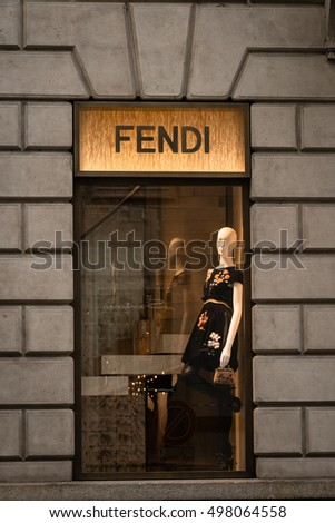 Milan, Italy - October 9, 2016: Shop window and entrance of a Fendi shop in Milan, Italy. Few days after Milan Fashion Week. Fall Winter 2017 Collection.