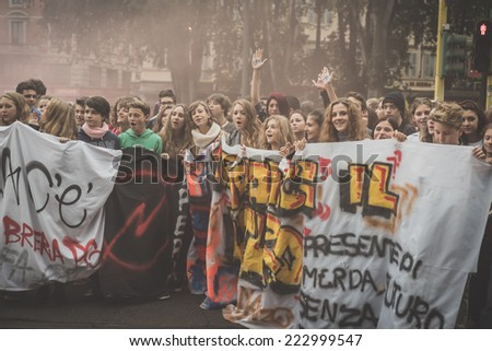 MILAN, ITALY - OCTOBER 10: Students manifestation held in Milan on October, 10 2014. Students took to the streets to protest against school italian reform and against milan expo