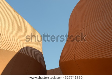 MILAN, ITALY-OCTOBER 07, 2015: the modern architecture of the United Arab Emirates pavillion at EXPO 2015, designed by Foster and partners, in Milan. - stock photo