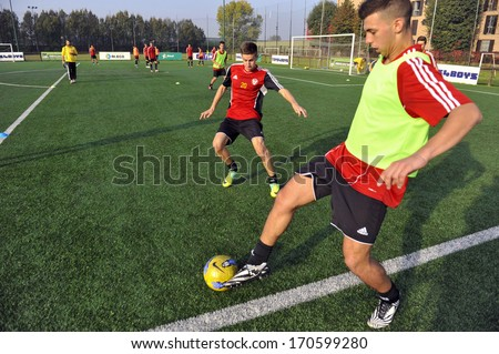 MILAN, ITALY - OCTOBER 25: young amateur soccer team during a training session in Milan, October 25 2012.