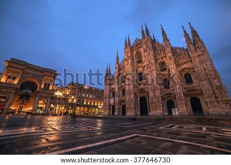 Milan, Italy: Piazza del Duomo, Cathedral Square in the sunrise. Galleria Vittorio Emanuele. - stock photo