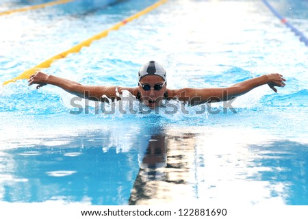 MILAN, ITALY - SEPT 21:  Alessia Filippi swimming champion during the performance september 21, 2008 in Milan, ITALY