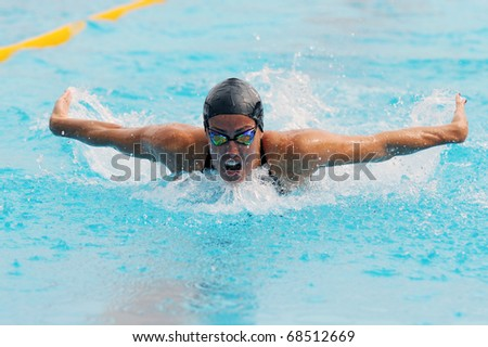 MILAN, ITALY - SEPT 21:  Teresa Alshammar  swimming champion during the performance september 16, 2008 in Milan, ITALY