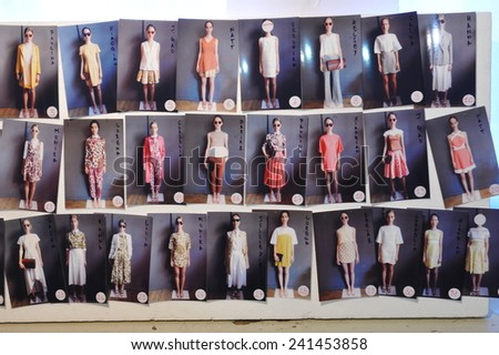 MILAN, ITALY - SEPTEMBER 17: A general atmosphere backstage during the Chicca Lualdi show as a part of Milan Fashion Week Womenswear Spring/Summer 2015 on September 17, 2014 in Milan, Italy. - stock photo