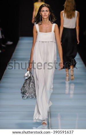 MILAN, ITALY - SEPTEMBER 24: A model walks the runway during the Anteprima fashion show as part of Milan Fashion Week Spring/Summer 2016 on September 24, 2015 in Milan, Italy.