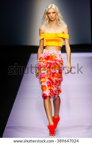 MILAN, ITALY - SEPTEMBER 26: A model walks the runway during the Daizy Shely fashion show as part of Milan Fashion Week Spring/Summer 2016 on September 26, 2015 in Milan, Italy.
