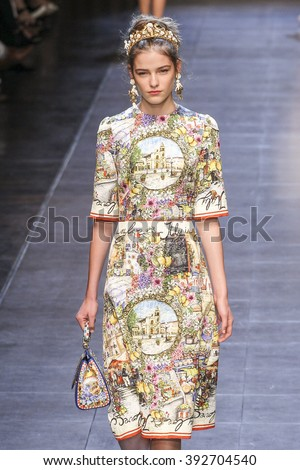 MILAN, ITALY - SEPTEMBER 27: A model walks the runway during the Dolce and Gabbana show as a part of Milan Fashion Week Spring/Summer 2016 on September 27, 2015 in Milan, Italy.