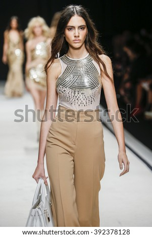 MILAN, ITALY - SEPTEMBER 26: A model walks the runway during the Elisabetta Franchi fashion show as part of Milan Fashion Week Spring/Summer 2016 on September 26, 2015 in Milan, Italy.  - stock photo