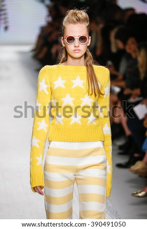 MILAN, ITALY - SEPTEMBER 24: A model walks the runway during the Max Mara show as a part of Milan Fashion Week Spring/Summer 2016 on September 24, 2015 in Milan, Italy.