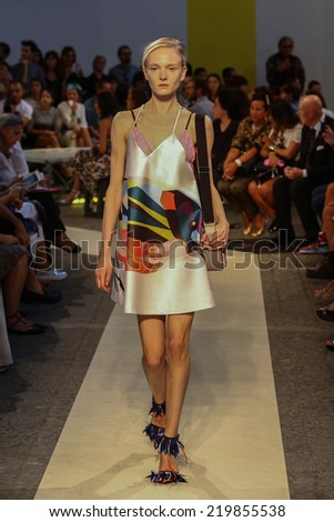 MILAN, ITALY - SEPTEMBER 21: A model walks the runway during the MSGM show as part of Milan Fashion Week Womenswear Spring  2015 on September 21, 2014 in Milan, Italy.