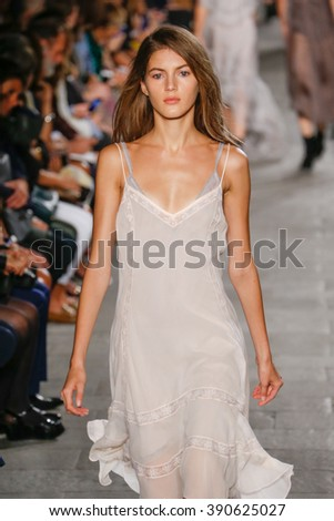 MILAN, ITALY - SEPTEMBER 25: A model walks the runway during the Philosophy di Lorenzo Serafini fashion show as part of Milan Fashion Week Spring/Summer 2016 on September 25, 2015 in Milan, Italy.