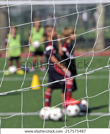 MILAN, ITALY-SEPTEMBER 13, 2014: AC Milan youth soccer training session at the Vismara center, in Milan.