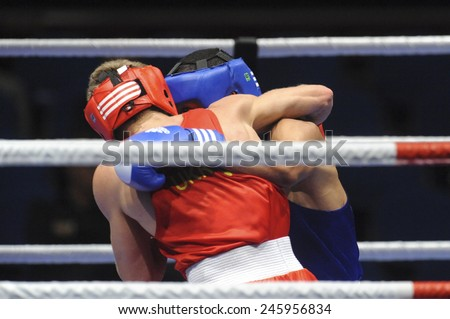 MILAN, ITALY-SEPTEMBER 09, 2009: amateur boxers during a boxe match of the World Boxing Championship, in Milan.