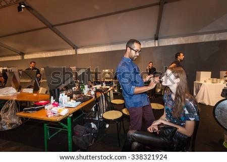 Milan, Italy - 24 September 2015: backstage during the Anteprima fashion show as part of Milan Fashion Week Spring/Summer 2016 - stock photo
