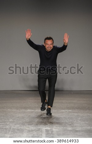 MILAN, ITALY - SEPTEMBER 27: Designer Alberto Zambelli greets the audience after the Alberto Zambelli show as part of Milan Fashion Week Spring/Summer 2016 on September 27, 2015 in Milan, Italy.