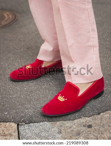 MILAN, ITALY - SEPTEMBER 21: Detail of shoes outside Ferragamo fashion shows building for Milan Women's Fashion Week on SEPTEMBER 21, 2014 in Milan.