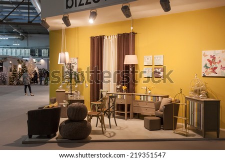 MILAN, ITALY - SEPTEMBER 13: Furnishing on display at HOMI, home international show and point of reference for all those in the sector of interior design on SEPTEMBER 13, 2014 in Milan.