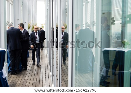MILAN, ITALY - SEPTEMBER 27: Garibaldi Towers interior on September 27, 2013. Towers are two modern skyscrapers, 100 meter high, energy self-sufficient thanks to solar panels and insulating materials - stock photo