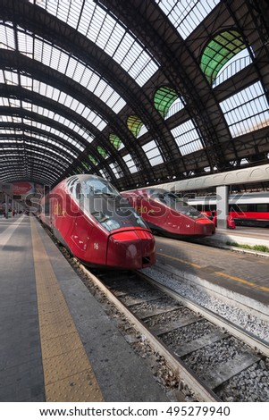 MILAN, ITALY - SEPTEMBER 27, 2016: Italo high speed train (Frecciarossa) in Central railway station.