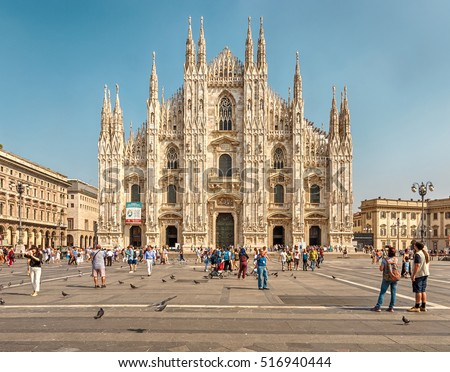 Milan, Italy - September 14, 2016: Milan Cathedral (Italian: Duomo di Milano.) - Cathedral in Milan, located in the historical center of the city.