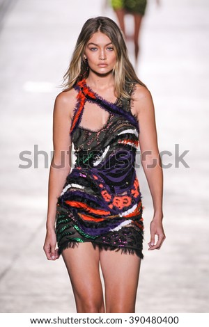MILAN, ITALY - SEPTEMBER 25: Model Gigi Hadid walks the runway during the Versace fashion show as part of Milan Fashion Week Spring/Summer 2016 on September 25, 2015 in Milan, Italy. - stock photo