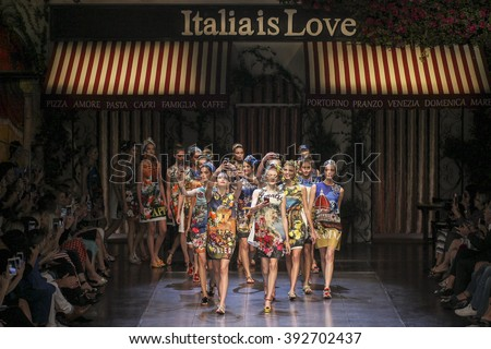 MILAN, ITALY - SEPTEMBER 27: Models walk the runway during the Dolce and Gabbana show as a part of Milan Fashion Week Spring/Summer 2016 on September 27, 2015 in Milan, Italy.