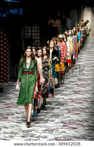 MILAN, ITALY - SEPTEMBER 23: Models walk the runway finale during the Gucci show as a part of Milan Fashion Week Spring/Summer 2016 on September 23, 2015 in Milan, Italy.  - stock photo