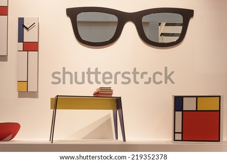 MILAN, ITALY - SEPTEMBER 13: Mondrian furniture on display at HOMI, home international show and point of reference for all those in the sector of interior design on SEPTEMBER 13, 2014 in Milan. - stock photo