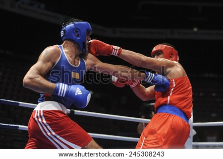 MILAN, ITALY-SEPTEMBER 07, 2009: non professional boxe match pulev vs abed elghani of the boxe amateur world championship, in Milan