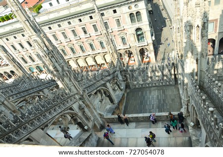 Milan, Italy - September 23, 2016: people in Terraces of Milan Cathedral Duomo top view
