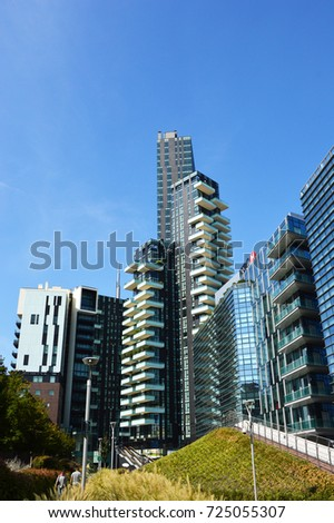 MILAN, ITALY - SEPTEMBER 22, 2017: Solaria tower is the example of futuristic ultramodern architecture in Porta Nuova. Modern skyscraper on Garibaldi downtown district near Piazza Alvar Aalto square