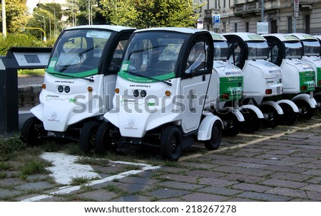 MILAN, ITALY  September 18:   the parking spot of rent public electric cars during the Fashion week, September 18, 2014 in Milan, Italy.