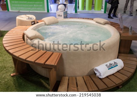 MILAN, ITALY - SEPTEMBER 13: Whirlpool bath on display at HOMI, home international show and point of reference for all those in the sector of interior design on SEPTEMBER 13, 2014 in Milan.
