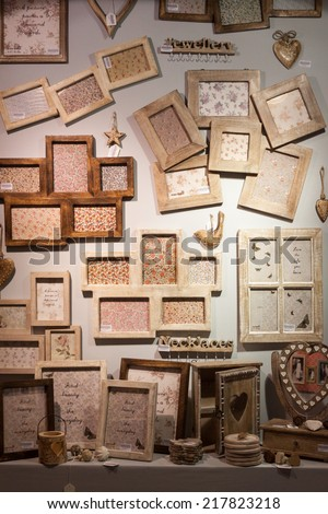 MILAN, ITALY - SEPTEMBER 13: Wooden frames on display at HOMI, home international show and point of reference for all those in the sector of interior design on SEPTEMBER 13, 2014 in Milan.