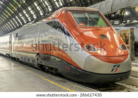Milan, Italy, 8th May 2015:Trenitalia is the primary train operator in Italy. It is  owned by Ferrovie dello Stato Italiane, itself owned by the Italian Government. - stock photo