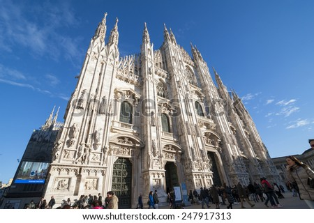 Milan ( Italy )25/01/2015: the cathedral of Milan is one of the most important churchs in the world and everyday tourists from allover the worls comes to visit and pray in it.