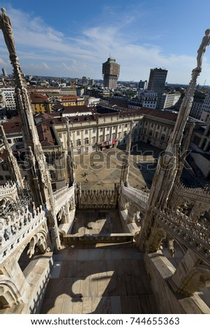 Milan - July 22: Duomo cathedral of Milan - roof terrace on July 22, 2017 in Milan, Italy.