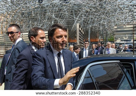MILAN, JUNE 17, 2015: Italian Premier, Matteo Renzi, leaves the Uk pavilion at Expo 2015 after the visit with UK Prime Minister, David Cameron. - stock photo