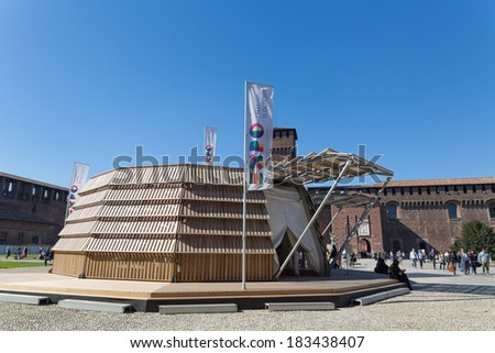 MILAN - March 17, 2014: EXPO 2015 Bookcity Agora  new space for the presentation of themes and projects of the Universal expo, in the sforzesco castle