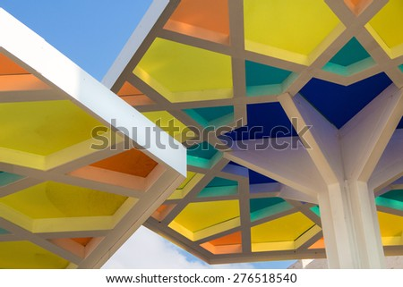 MILAN - MAY 06 2015: Details of Qatar pavilion at Expo 2015, universal exposition in MILAN, ITALY - stock photo