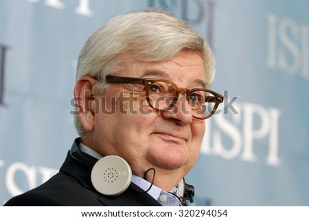 MILAN - 28 MAY 2014 - Joschka Fischer, former german Foreign Minister (1998-2005), at the ISPI conference on â??The future of Europe after electionsâ?�